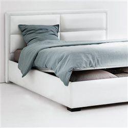 Lit relevable, tête de lit matelassée, sommier, rangement, Blax