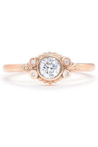 """13 Engagement Rings We'd Say """"Yes"""" To #refinery29  http://www.refinery29.com/53051#slide6  Megan Thorne Wood Nymph Diamond Ring in Rose Gold, $3,125, available at Greenwich Jewelers."""