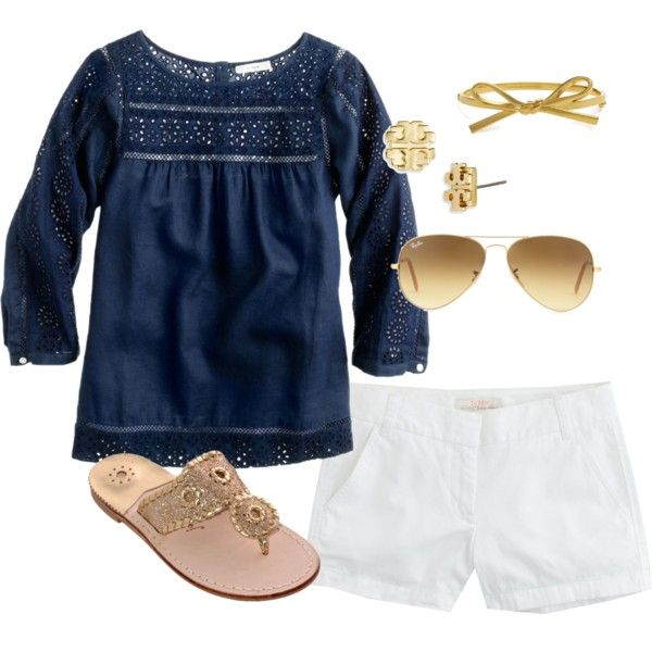 Love the sweet details on the navy top, classic white shorts and gold accessories. Perfect summer outfit.