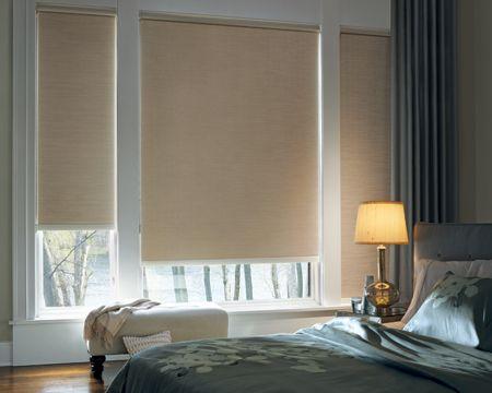 Hunter Douglas Designer Roller Shades In Bedroom With Room Darkening  Fabric. Www.blindadvantage.