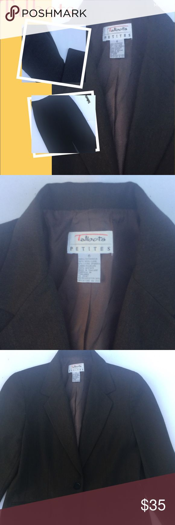 """💋""""Talbots"""" Petite Jacket💋 Shell exterireur with 98% wool/laine 2% Lycra spandex, Lining/ Doublure- 100% Acetate made in Thailand( the color is black with a hint of gold in the black color it's just gorgeous can be worn with black pants or a black skirt I would even wear this lovely jacket with a floral mid length skirt Talbots Jackets & Coats Blazers"""