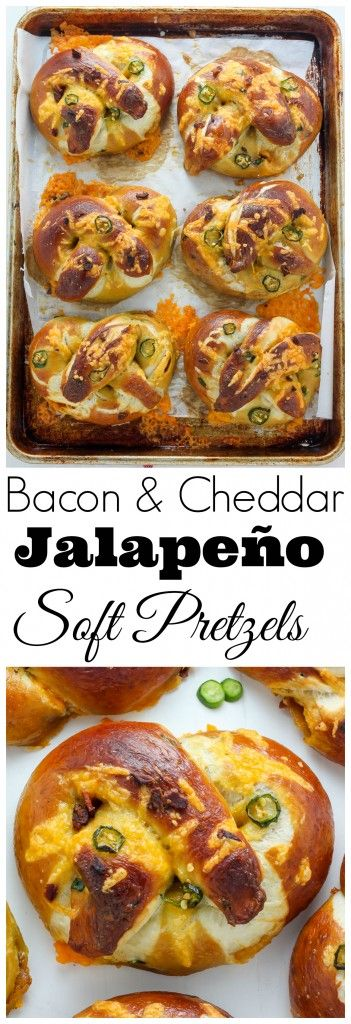Bacon and Cheddar Stuffed Jalapeno Soft Pretzels! Melty cheese; plenty of crispy bacon; and just enough fresh jalapeno to keep you on your toes. These stuffed pretzels are a game changer.