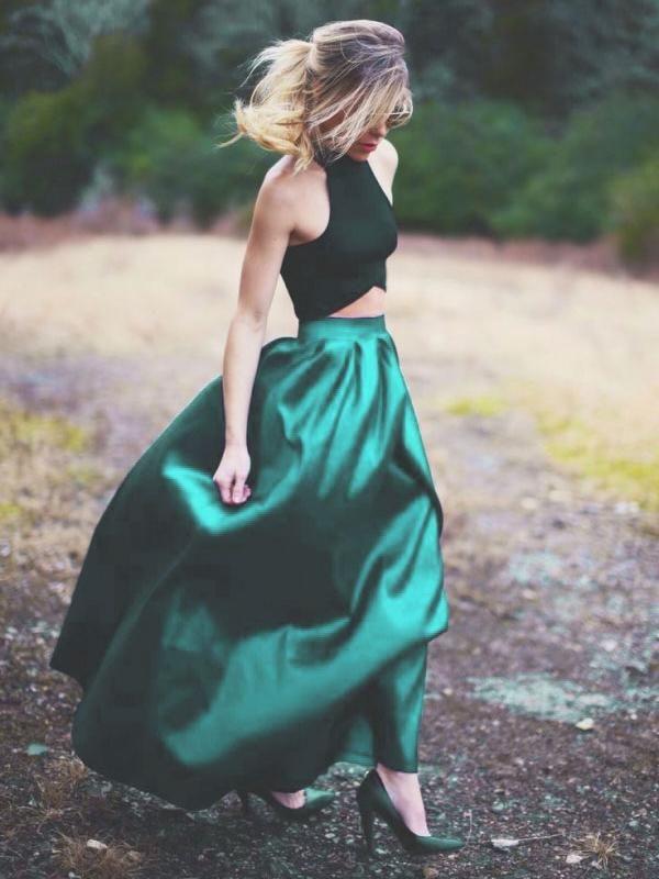 Two Piece Prom Dresses A-line Halter Long Hunter Green Prom Dress Satin Evening Dress JKL534
