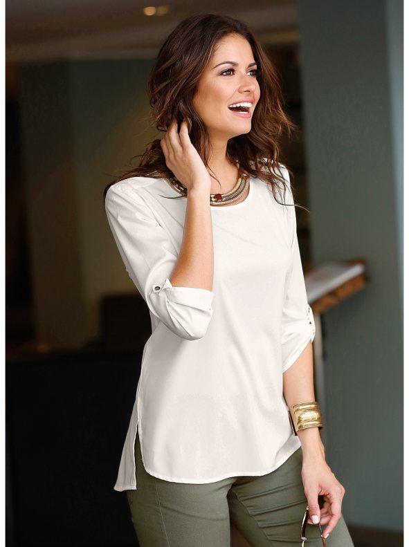 Blusa camisa de mujer manga 3/4 asimétrica en crepe