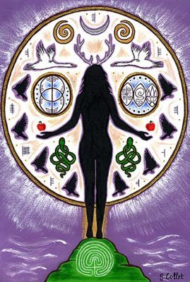 Lady of Avalon Goddess Art Gift Card by Julie Collet