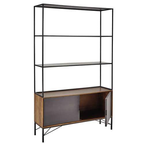 Libreria nera in metallo L 120 cm