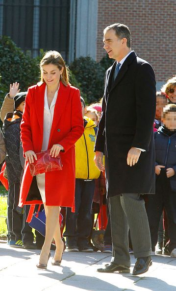 King Felipe of Spain and Queen Letizia of Spain meet some students before attending a meeting with Prado Museum Board at Prado Museum on February 16...