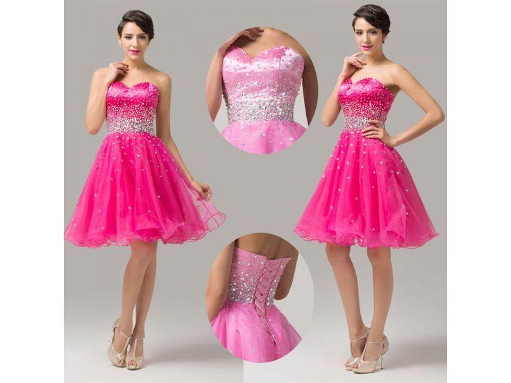 Pink prom dress with crystals *** top designer dress for cheap price *** luxusni plesove koktejlove saty za prijemne ceny skladem