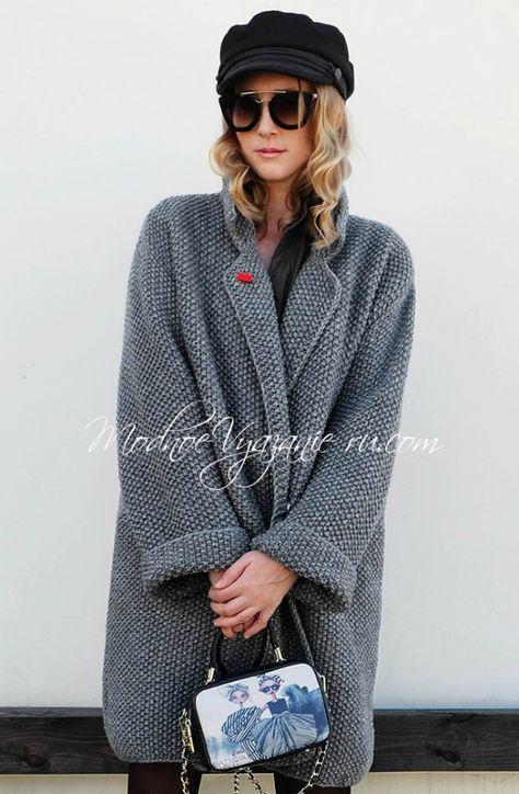 Пальто оверсайз связанное спицами - Modnoe Vyazanie ru.com