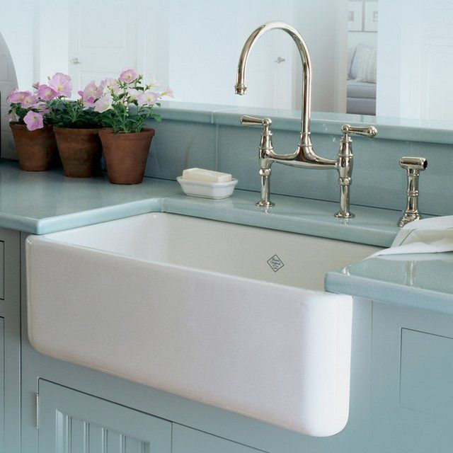 """Farmhouse Sink by Rohl With all of the activity it sees, your kitchen sink should be able to withstand it all. The fireclay kitchen sinks from Rohl's Shaws Original Sinks collection are more than able to stand up to the daily punishment, and they look amazing doing it. These durable fireclay kitchen sinks resist scratches, thermal shock, alkaline, and acids. Sink measures 18"""" W x 30"""" D x 10"""" H Sink weight: 161 lbs. Constructed of very thick fireclay – different than ceramic, fireclay is an…"""