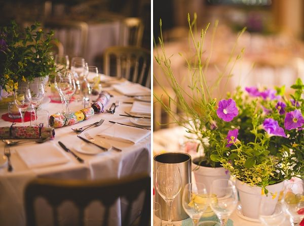 potted plants wedding tables