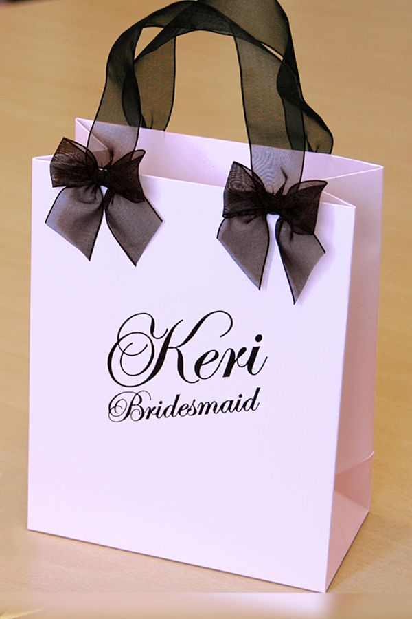 Personalized Bridesmaid's Gift bags Bridal Party Gift Bag with name - Bride, Maid of honor gift bag with Black organza ribbon and two bows.
