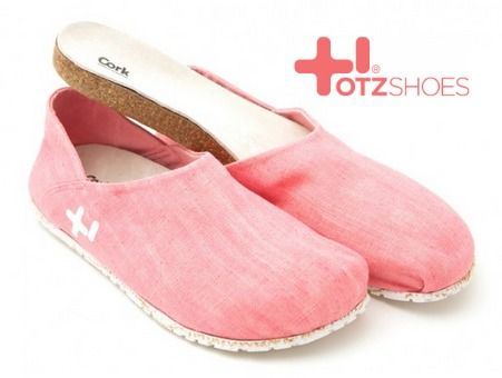 OTZ Shoes. Toms-like linen upper shoes have removable cork footbed with arch support. Reviewed on my blog.