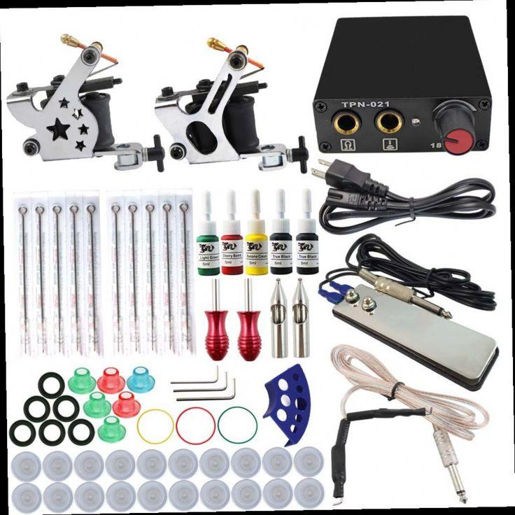 52.68$  Buy here - http://alirdv.worldwells.pw/go.php?t=32771128757 - Hot Professional Tattoo Kit 2 Machines Gun 5 Color Inks Power Supply Needles Set Cheap-Tattoo-Machines SC151