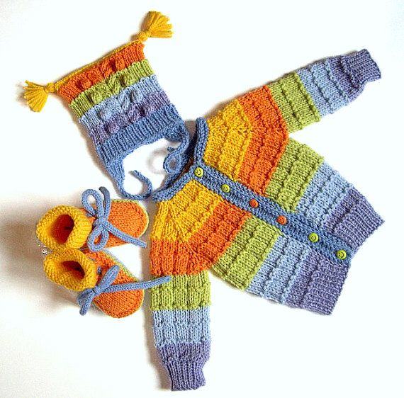Hand knit baby set jacket hat booties rainbow color by MiaPiccina