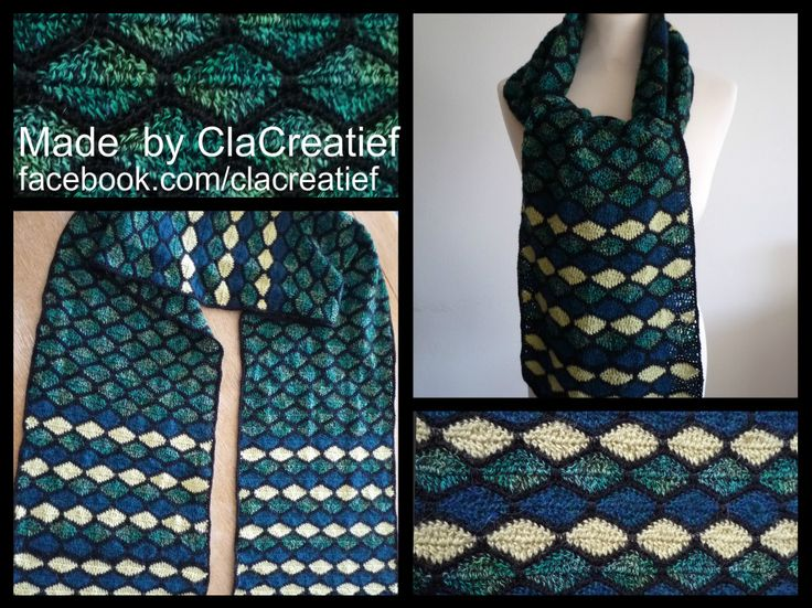 Made by ©ClaCreatief; gehaakte winter shawl.  Patroon Stained Glass Scarf o.a. te vinden op Ravelry.com