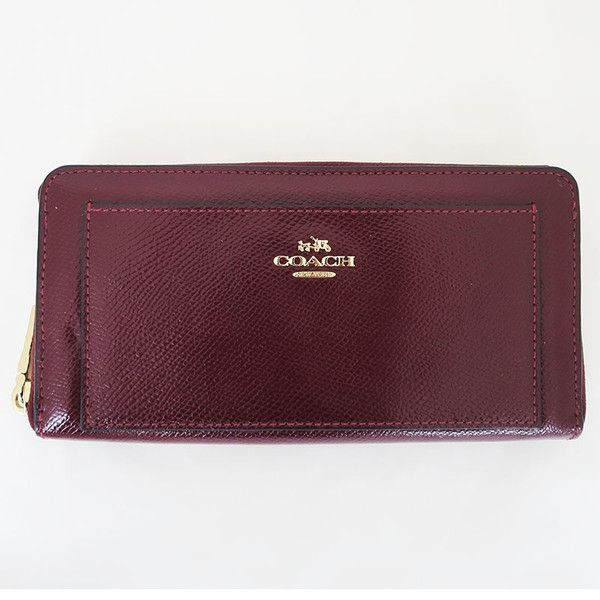 【中古】COACH(コーチ) F52648 クロスグレイン レザー ラウンドファスナー 長財布 シェリー ゴールド金具/フロントに輝くロゴプレートが上品な印象。中身を確認しやすいラウンドファスナー開閉に豊富な内ポケットを備えた実用的デザインです。/新品同様・極美品・美品の中古ブランドバッグを格安で提供いたします。/¥16,800