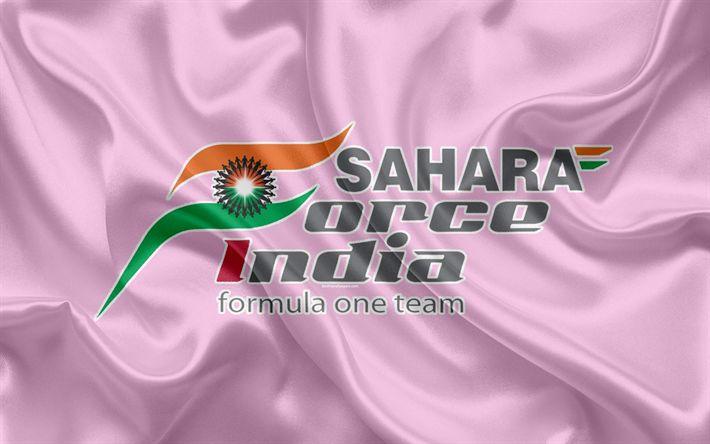 Download wallpapers Sahara Force India F1 Team, 4K, racing team, Formula 1, logo, F1, pink silk flag, motorsport, France