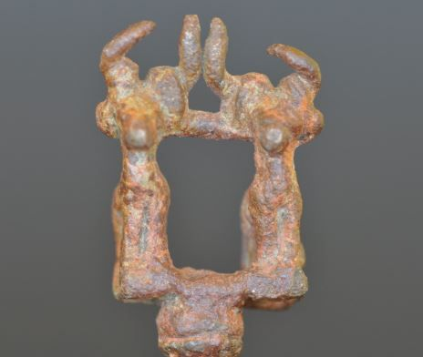 Bactrian bronze pin with two ibex, 2000-1500 B.C. Afghanistan, Bactria Margiana bronze pin with two ibex, 8.7 cm high. Private collection