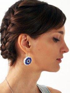 Kolczyki wiszące białe haft łemkowski niebieski duże