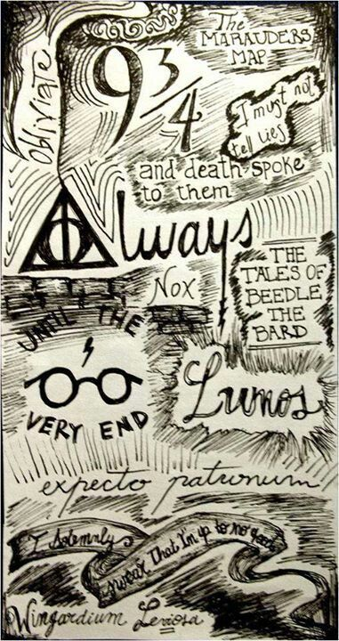 Harry Potter and doodles, letterings, and other magical drawings zentangles