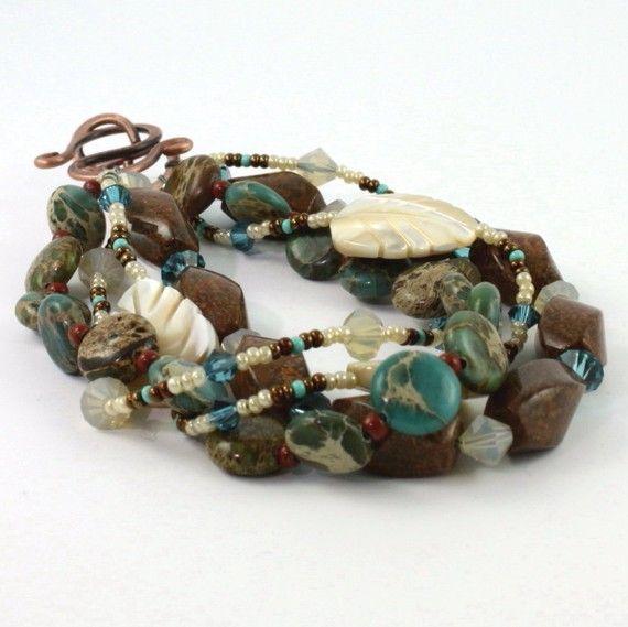 Aqua Terra Bracelet Southwest Blue Sky by AbacusBeadCreations, $40.00