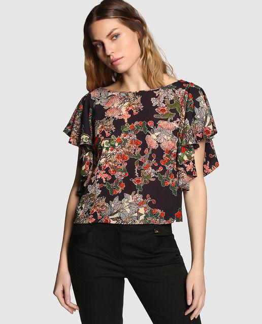 Blusa estampada de mujer Yera con mangas corta con volantes