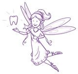 Vektor: Cute little happy fairy girl flying with tooth, tooth fairy. Hand drawn vector cartoon doodle illustration
