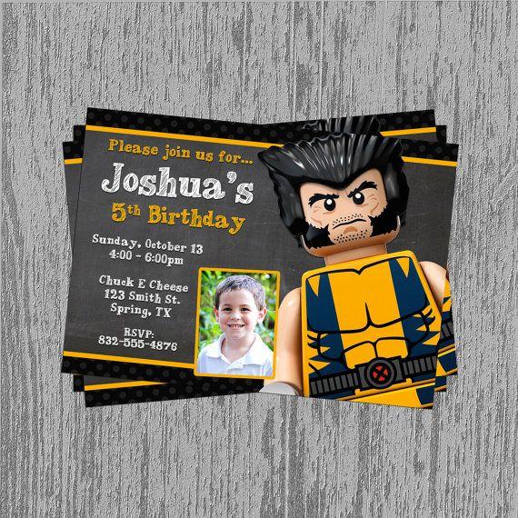 Lego Wolverine Custom Birthday Invitation by LastingMomentsDesign, $8.99