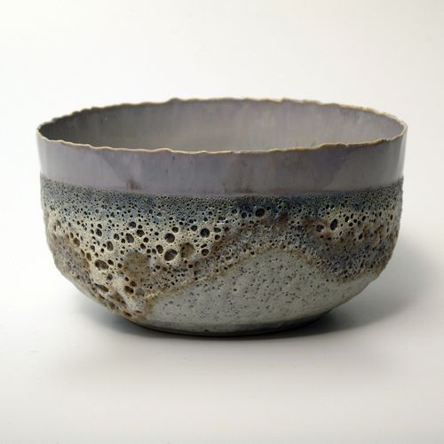 large tea bowl - porcelain with crystalline / volcanic glaze -by Hilary Laforce - 2012