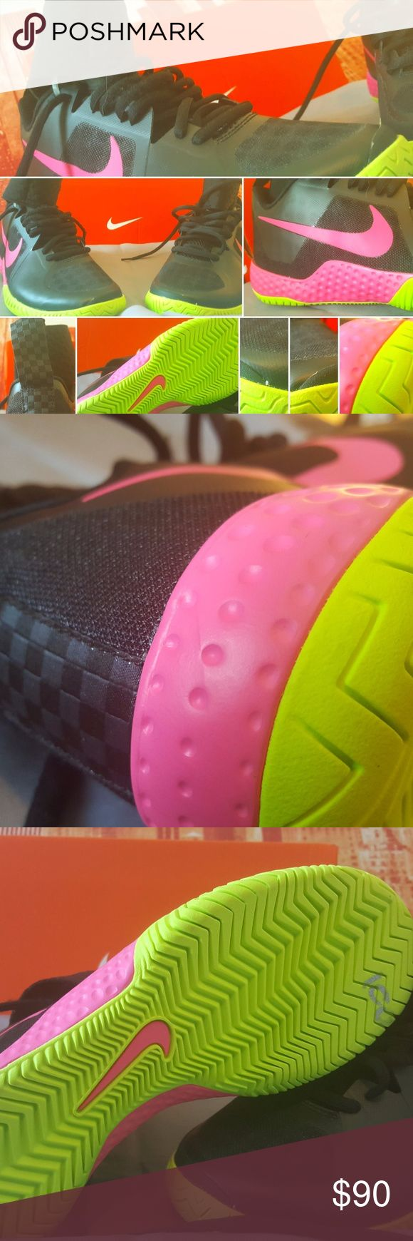 Serena Williams NIKE HYPER FLARE WOMENS PINK BLACK Nike Serena Williams Flare Tennis Shoes Size 6.5 (810964-067) Black/Pink/Volt New Without Box Nike Shoes Sneakers