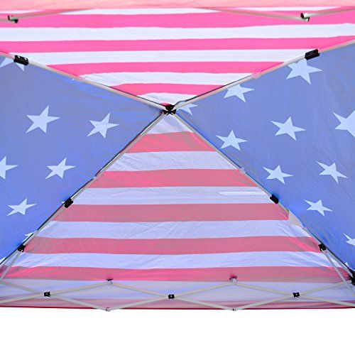 Outsunny 10' x 10' Slant Leg Pop-Up Canopy Shelter Party Tent - American Flag