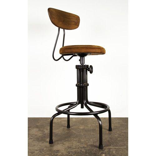 Found it at Wayfair - Buck Adjustable Height Swivel Bar Stool with Cushion
