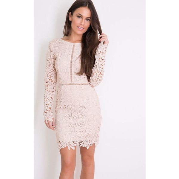 Girl In Mind Chloe Long Sleeve Crochet Lace Bodycon Dress Nude (£36) ❤ liked on Polyvore featuring dresses, neutral, pink dress, pink bodycon dress, long sleeve bodycon dress, nude dress and crochet lace dress