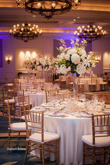 Trumpet vase florals for ballroom reception. (Design by Lee Forrest Design, photo by: Stephanie Dishman Photo)