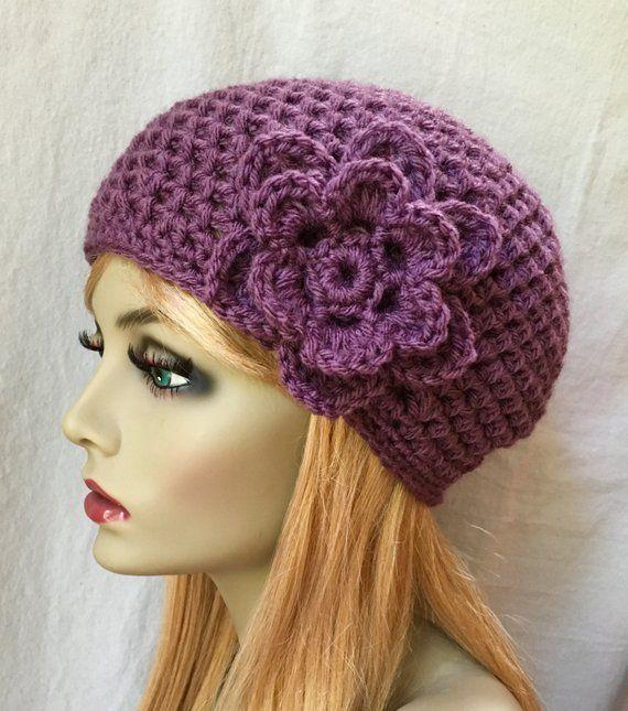 Women S Fashion Over Petite SALE Crochet Womens Hat Purple Beanie Flower Birthday Gifts