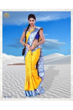 silk saree,Neerus,Yellow Kanchipuram Silk Saree With Blouse