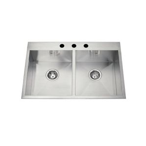 31 x 20 x 8 double squared bowl 1 hole stainless steel kitchen - Home Hardware Kitchen Sinks