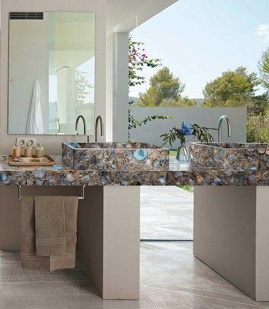 Agathe Precious Stone glued sinks with grey marble paving