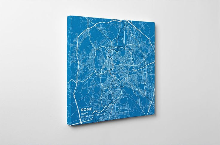 Gallery Wrapped Map Canvas of Rome Italy - Subtle Blue Contrast