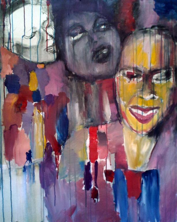 "Sharon Jones and the Dap Kings, acrylic painting 30x37"" by Rima Muna"