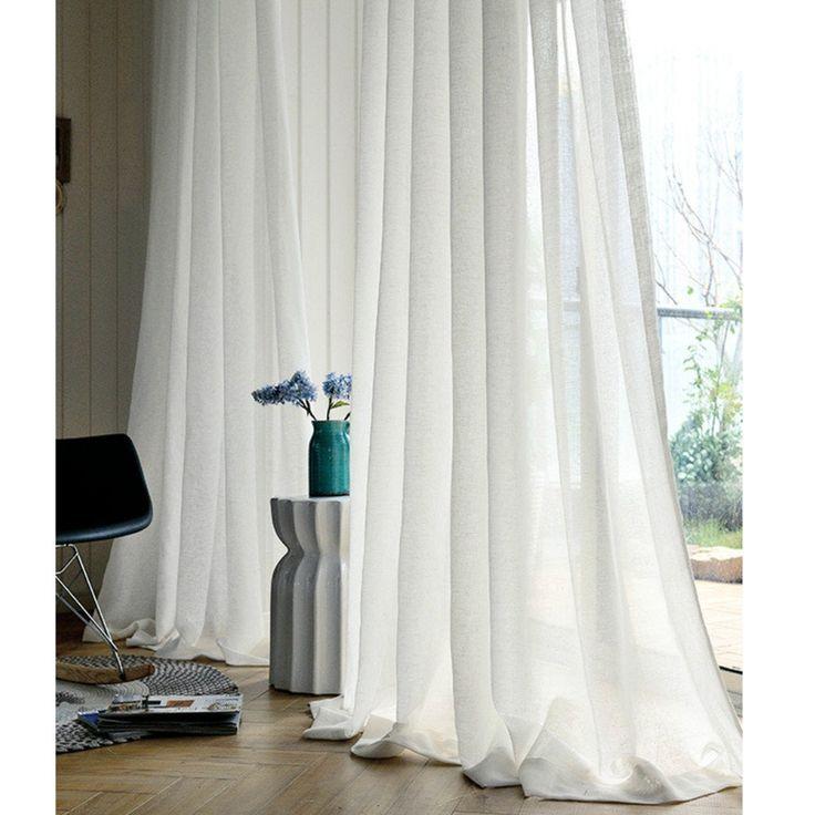 Linen Sheer White Curtains, Sheer Curtain Panels, Shabby