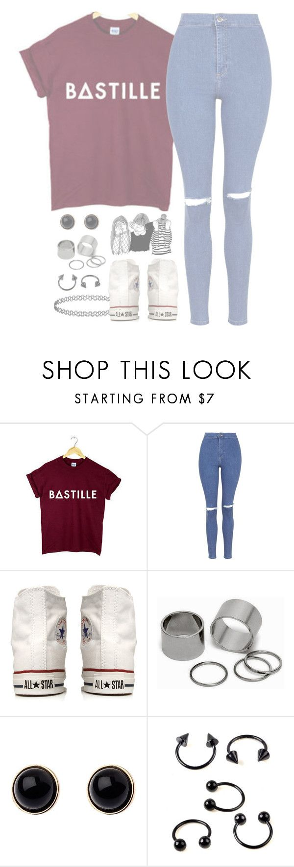 """""""//Flaws//"""" by alexdacko ❤ liked on Polyvore featuring Topshop, Converse, Pieces and Adele Marie"""