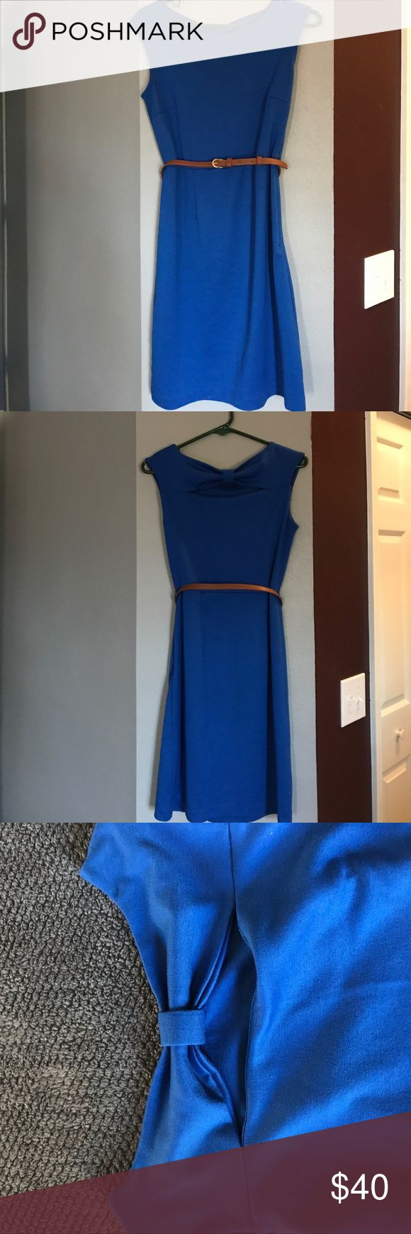 🦋Limited royal blue dress with  belt The Limited royal blue dress with brown skinny belt(picture 6). Has a zipper on left side, but I doubt you'll need it. This dress is liken to t-shirt material. Super soft and a fun cutout in the back. Dress this up with a blazer or down with a cardigan or denim jacket. Pretty blue color is great for color blocking 🌺 Dresses