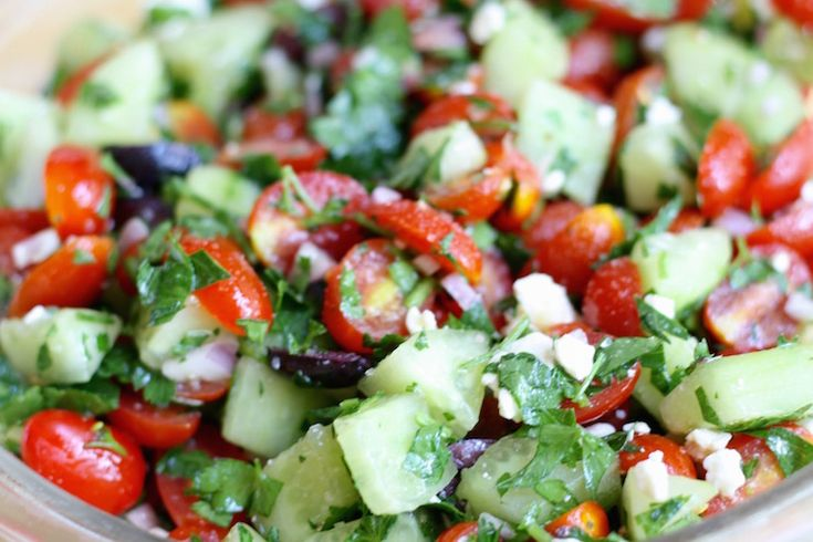 Tomato and Cucumber Salad - so easy, a great way to get an extra serving or two of veggies in, plus olive oil! http://thoughtfulcooking.com/tomato-cucumber-salad/
