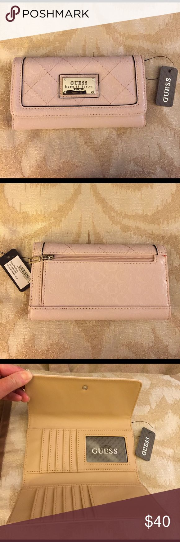 """NEW GUESS TRI-FOLD WALLET New Guess tri-fold wallet..Burbank SLG group..powder color..measurements 7"""" x 4""""..brand new with tags..refer to pics.. Guess Bags Wallets"""