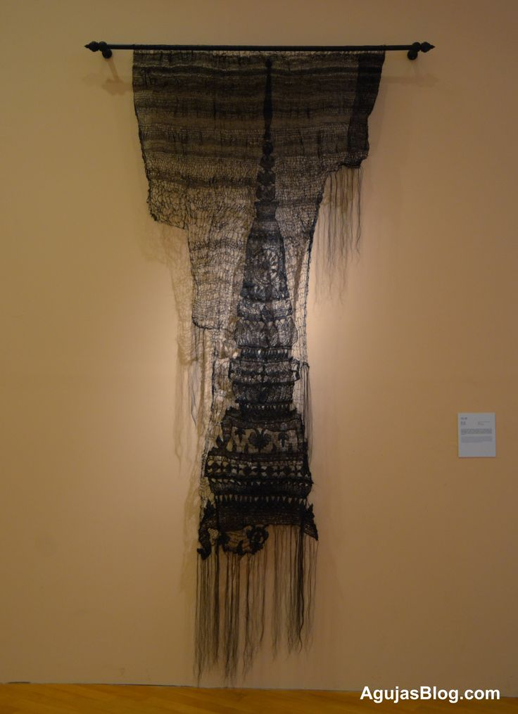 """Artist-uncited weaving, shown at the Bangkok Art and Culture Center.  The piece is called Trailak (The Three Characteristics of Existence), 2012.   __ It is woven entirely of """"hair""""  (unclear if that's human hair, horse hair, or...???)"""
