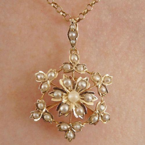 Antique-Victorian-9ct-Gold-Pearl-set-Floral-Motif-Snowflake-Pendant-Brooch-c1895