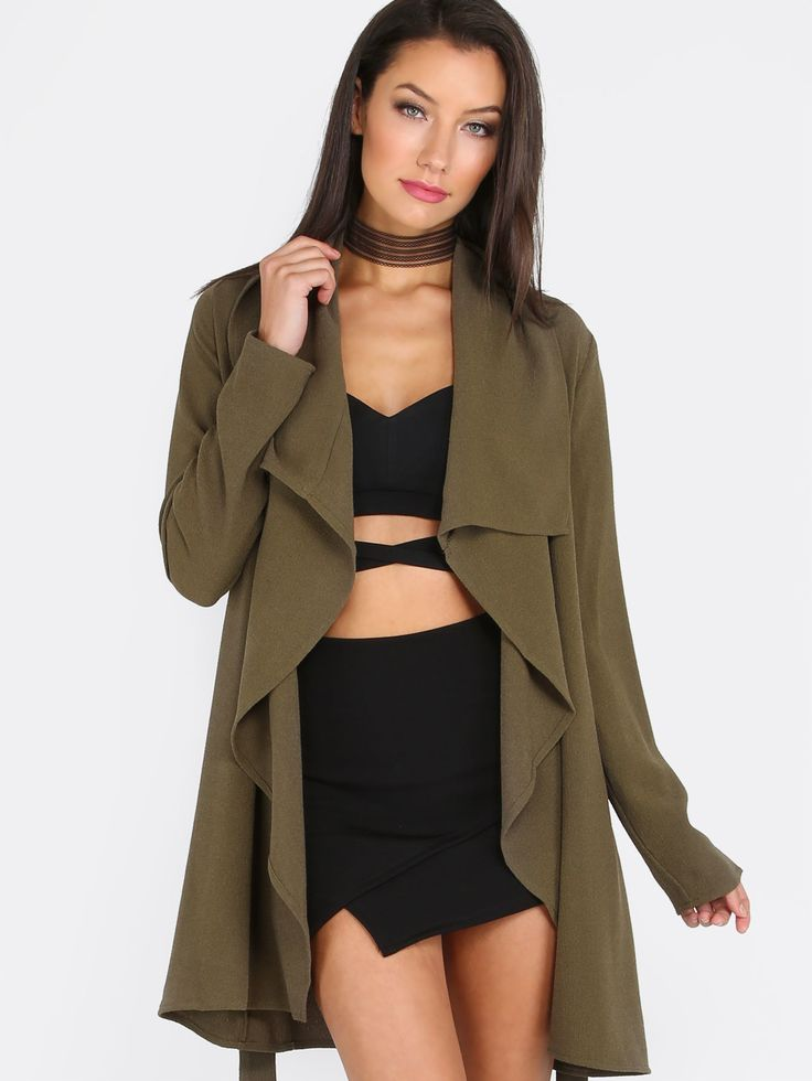 Shop Army Green Lapel Tie Long Sleeve Outerwear online. SheIn offers Army Green Lapel Tie Long Sleeve Outerwear & more to fit your fashionable needs.