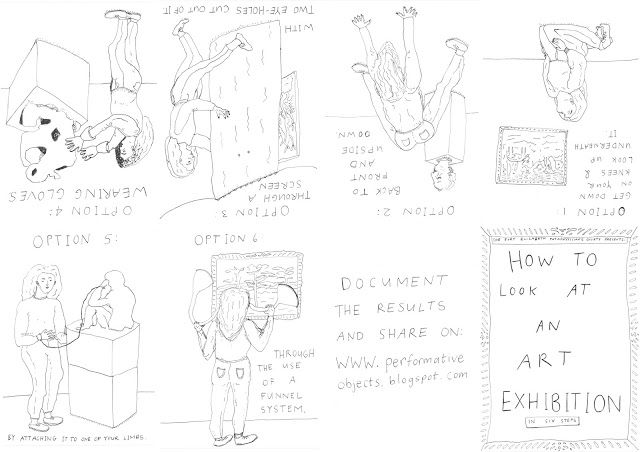 """Emma Minkley - """"How to Look at an Art Exhibition"""" (2015) Digital booklet layout (originally drawn as a series of eight A4 sketches with black marker pen on paper)"""